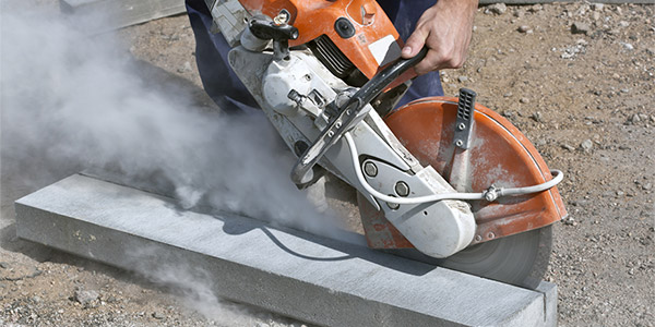 Concrete being cut